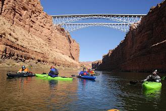 Photo: Paddling under Navajo Bridge