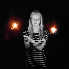 4th by Steve Hayes - Novices Only Portraits & People ( b&w, girl, sparkler, 4th of july, spark )