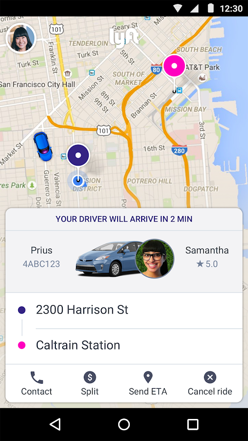 Screenshots of Lyft for Android