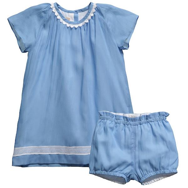 Photo: Hucklebones London   Baby Girls Blue Cotton Dress & Pants 2 Piece Set http://www.childrensalon.com/dress-bloomer-set.html  Price: £59.00 Size range: 6-18 month