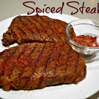 Spiced Steaks with Potato and Bacon Hash.
