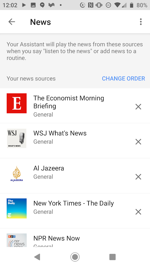 "Screenshot of the ""News"" in Google Home featuring ""the Economist, WSJ, Al Jazeera."""