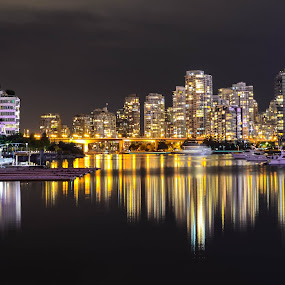 Vancouver Skyline by Cory Bohnenkamp - City,  Street & Park  Skylines ( water, skyline, waterscape, reflections, night, cityscape, vancouver, city )