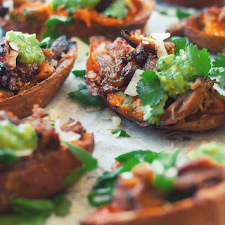 Crispy Carnita Stuffed Sweet Potato Skins with Salsa Verde and Manchego