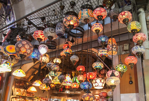 An assortment of colorful, intricately designed lamps at the Grand Bazaar in Istanbul.