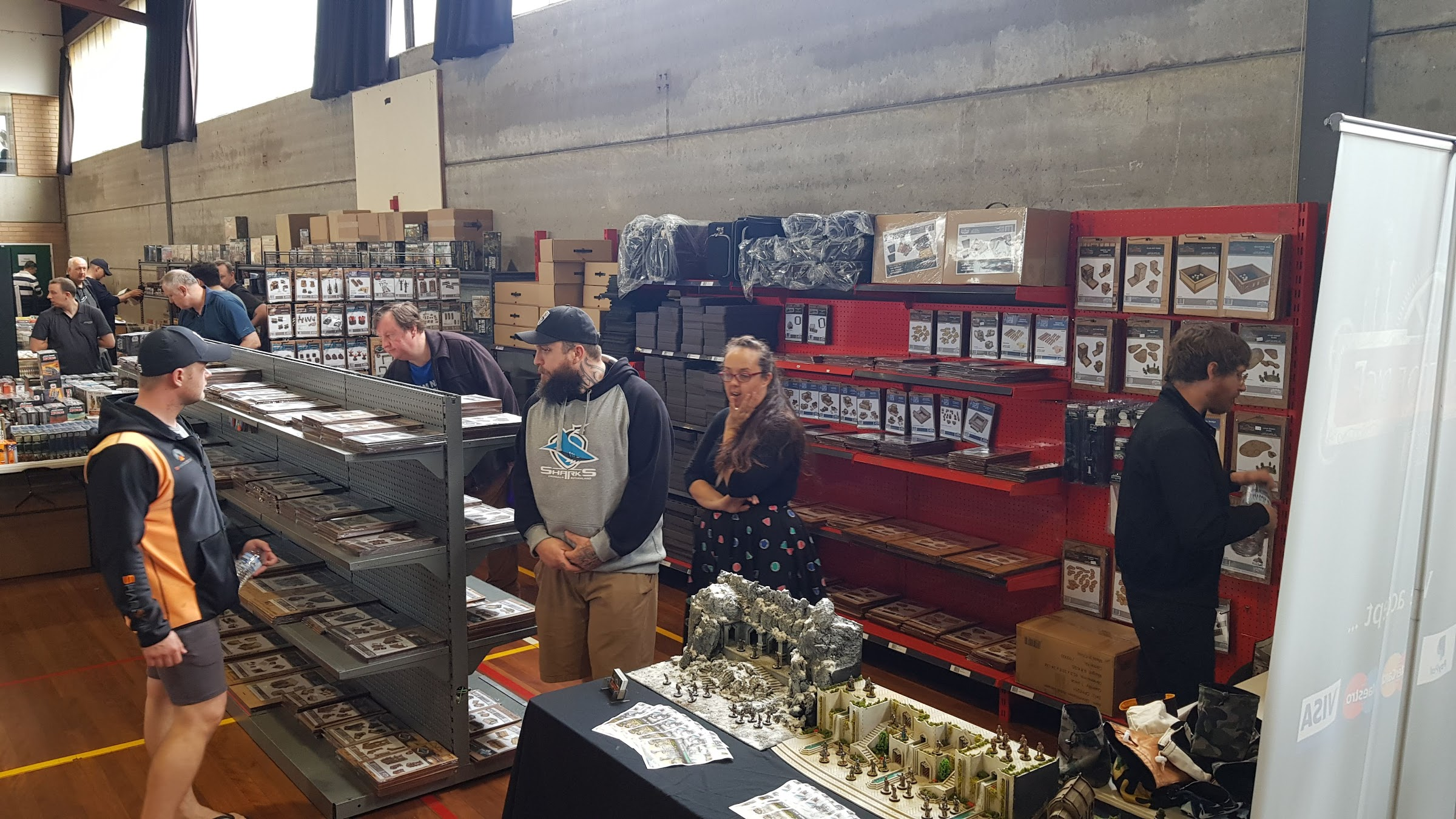Customers browsing the Knights of Dice stand