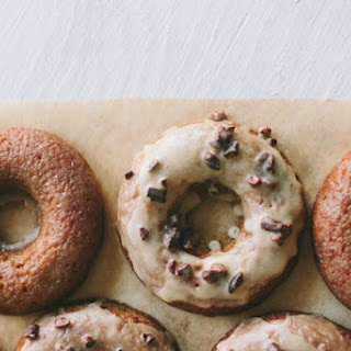 [baked] Banana Doughnuts [with coffee-cacao nib or peanut butter glaze].