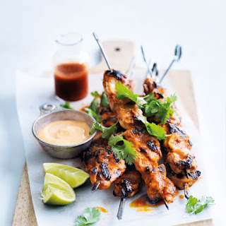 Char-grilled Lime And Sriracha Chicken Skewers.