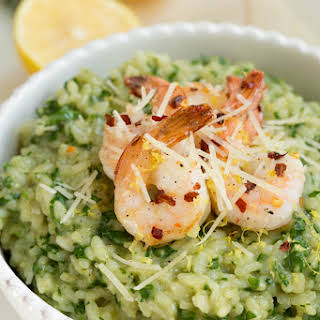 Lemon Garlic and Spinach Risotto with Sautéed Shrimp.