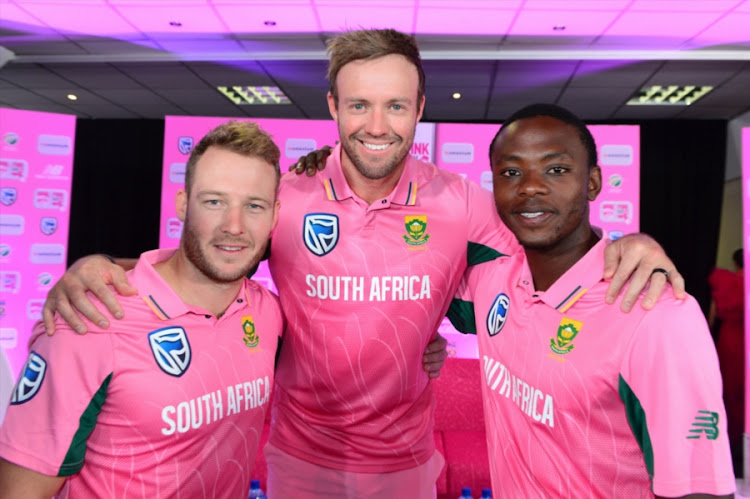 David Miller, AB de Villiers and Kagiso Rabada during the Momentum ODI Pink Day Launch at Bidvest Wanderers on January 18, 2018 in Johannesburg, South Africa.