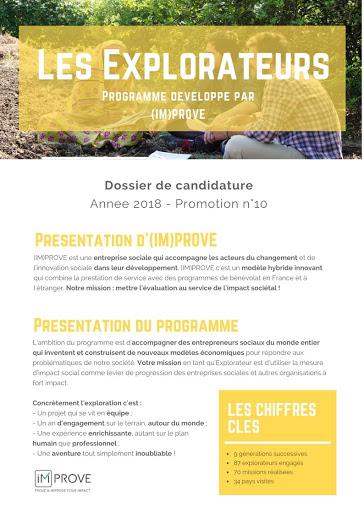 dossier candidature explorateurs bénévolat compétences étudiant mesure d'impact social