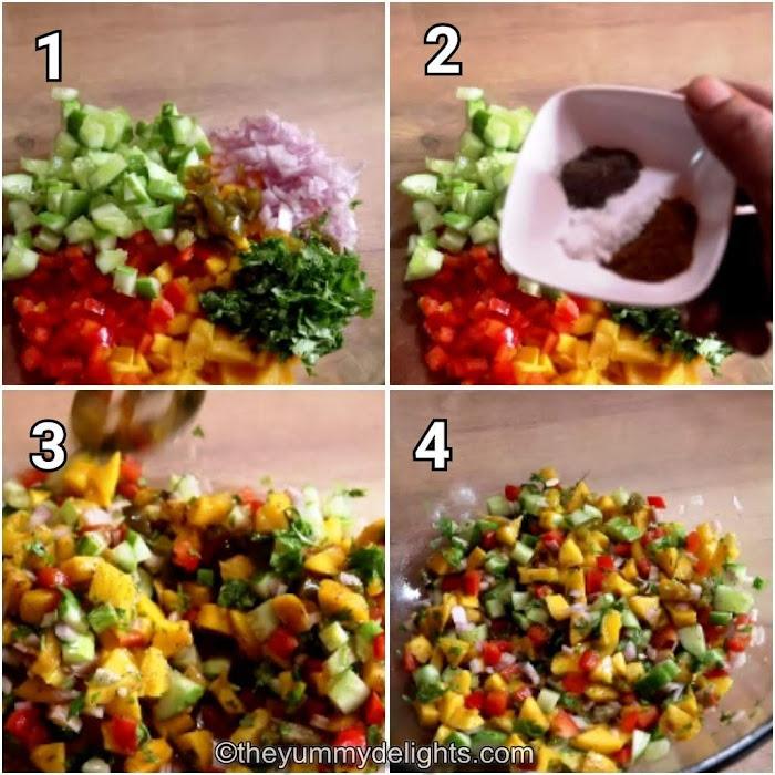 Step by step photo of making Mango salsa recipe