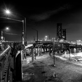 Walking Portland by Andrew Hale - Buildings & Architecture Bridges & Suspended Structures ( portland, suspension, train, night, tram, bridge )