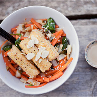 Vegan Asian-inspired Carrot Stir fry with Crispy Tofu.