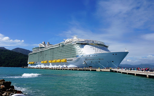 harmony-of-seas-docked.jpg - Passengers disembark Harmony of the Seas at Royal Caribbean's private retreat in Labadee, Haiti.