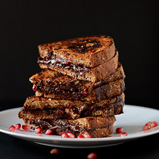 Grilled Almond Butter, Dark Chocolate & Pomegranate Sandwich