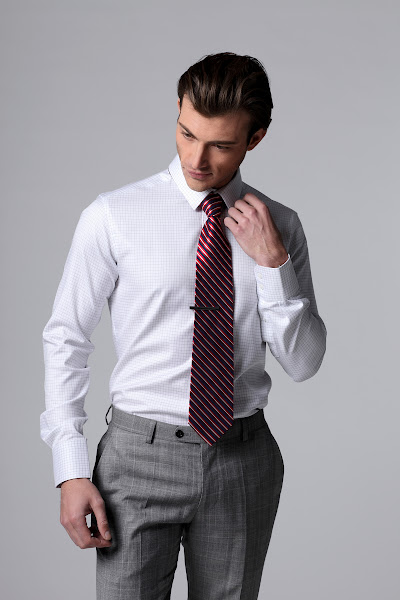 Photo: R43701-08 White Grids twill shirt. Small classic collar, 1-button round cut cuffs, and white buttons. Tie 1834t matches nicely with this shirt.