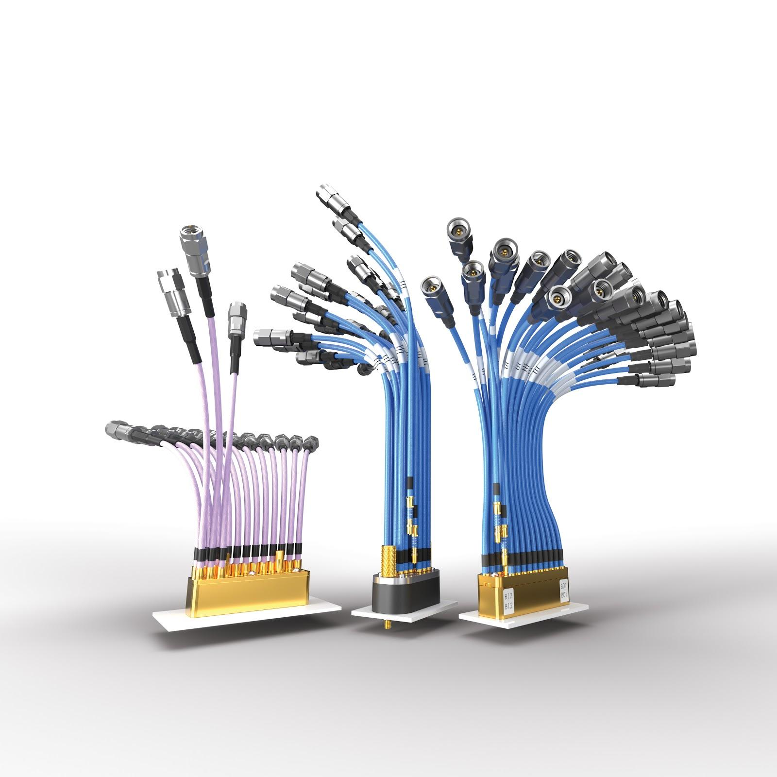 Multiple rendered images of Samtec BullsEye BE70 connector systems capable of 70GHz of bandwidth. Image courtesy of Samtec, Inc.