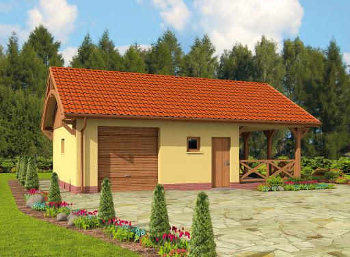 projekt G56 szkielet drewiany garaż jednostanowiskowy z pomieszczeniem gospodarczym, wiatą