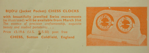 Photo: CHESS No 288 Mar 1967  Bijou (Jacket Pocket) clock  This design seems to have had a very long run of production/sale in CHESS.