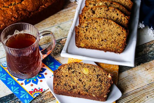 Zucchini Pineapple Banana Bread With A Cup Of Tea.