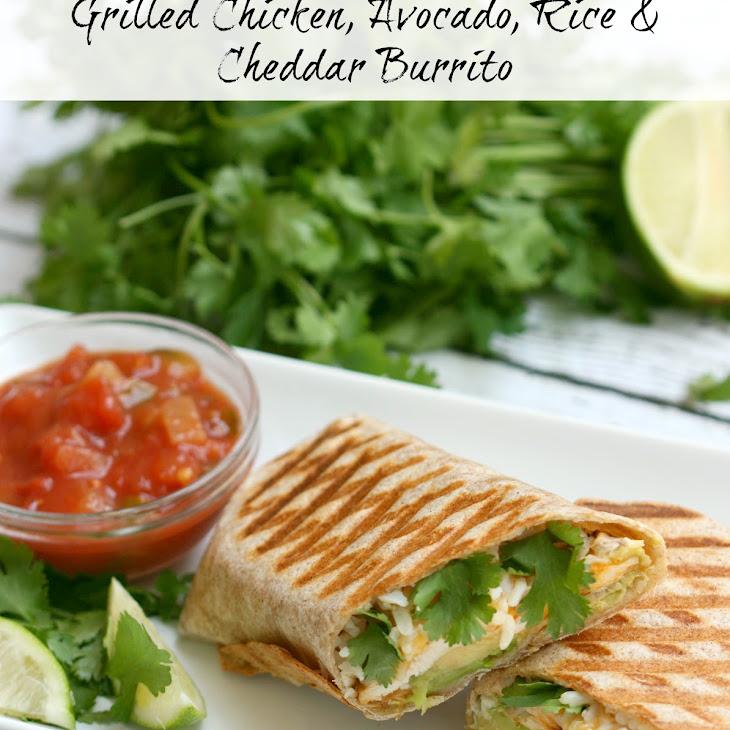 Grilled Chicken, Avocado, Rice & Cheddar Burrito