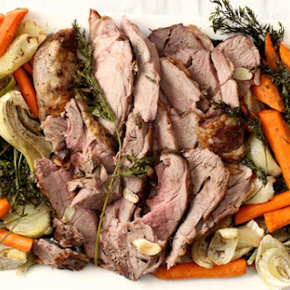 Leg of Lamb with roasted fennel, onions, and carrots