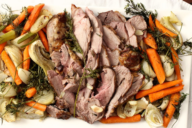 Leg of Lamb with Roasted Fennel, Onions, and Carrots Recipe