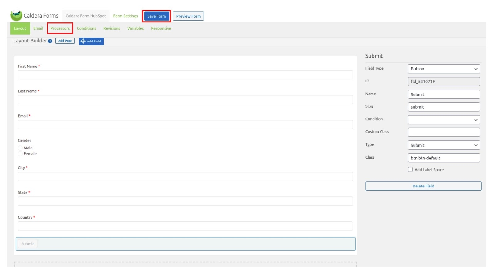 Creating a new form in Caldera Forms plugin