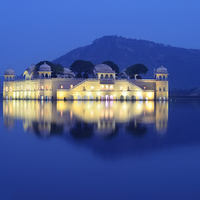 Blue Jal Mahal by Nimit Nigam - Buildings & Architecture Statues & Monuments ( reflection, rajasthan, twilight, nimit, 50mm, lake, hour, lens, prime, blue, mahal, d7000, jal, india, nikon, landmark, travel,  )
