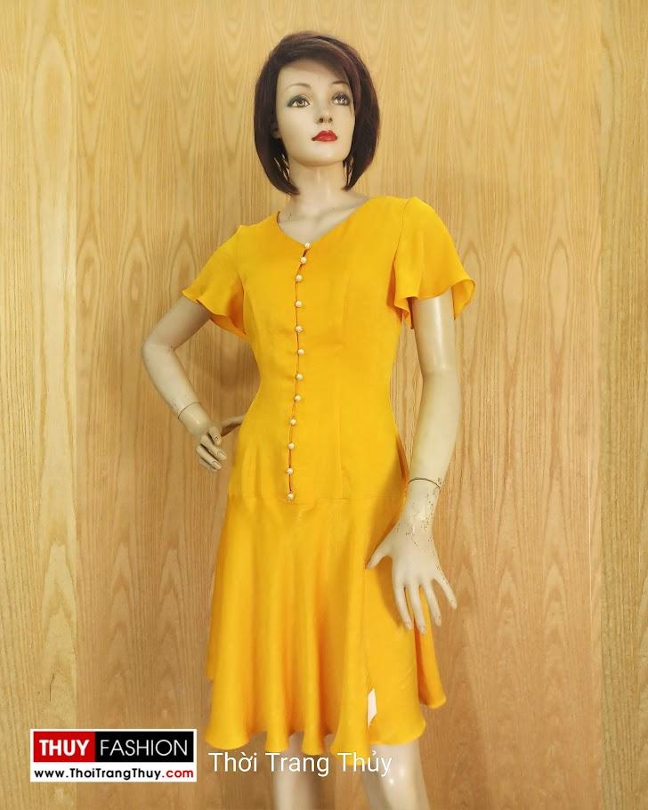 Váy xoè tay loe vải lụa màu vàng V687 thời trang thuỷ sài gòn