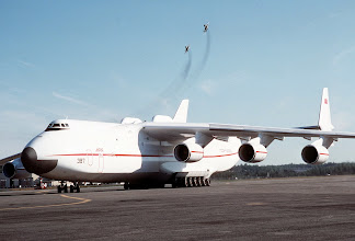 Photo: A Soviet An-225 aircraft sits on the flight line.  It is refueling at Elmendorf en route to an air show in British Columbia.