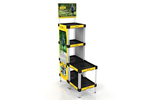 exhibidor modular plástico con bandejas y gráfica payloader PL5