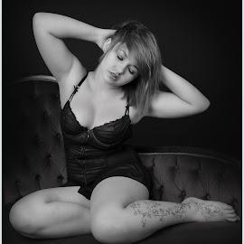 by Shaun Healey - Nudes & Boudoir Boudoir ( model, lingerie, black and white, boudoir, posing )