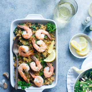 Garlic Butter Shrimp and Quinoa in the Slow Cooker.