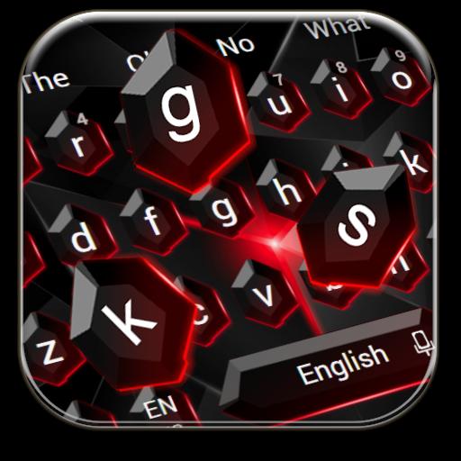 Black Red Crystal Keyboard