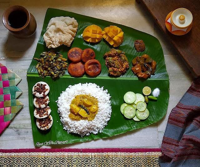 Raja Sankranti Lunch Shared by Lucy Parija - Bhata, Dalma, Kakara Pitha, Idli Pitha, Bhaja, Saga, Mahura, Potala Kuruma, Papad