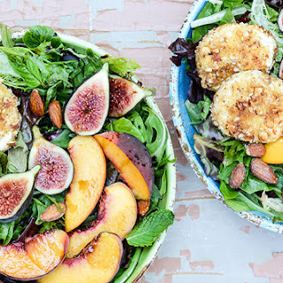 Almond-Crusted Goat Cheese, Peach and Fig Salad