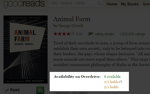 Available Goodreads chrome extension