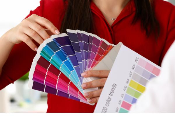 choosing paint colour swatches