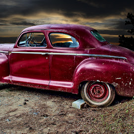 Plymouth at Kyle's Garage by JEFFREY LORBER - Transportation Automobiles ( rust 'n chrome, rust, old cars, jeffrey lorber, car, vintage, plymouth, lorberphoto )