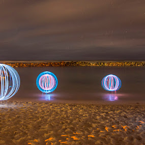 floating light balls by Stephen  Barker - Abstract Light Painting