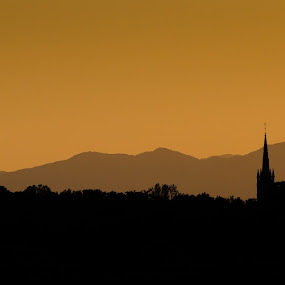 Sunset Spires by Jon Marshall - City,  Street & Park  Vistas ( spires, sunset, alloa )