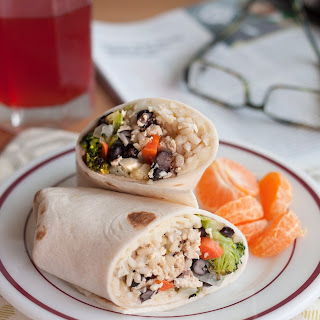 Freezer-Friendly Roasted Vegetable Burritos with Black Beans and Rice.