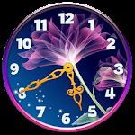 Neon Flowers Clock