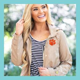 Monogrammed Collegiate Rain Jacket