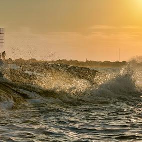 Waves at sunset by Andrea Magnani - Landscapes Waterscapes ( backlight, waterscape, waves, sunset, seascape, light )