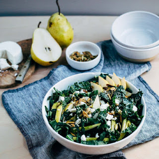 Kale Salad with Pears and Crumbled Goat Cheese