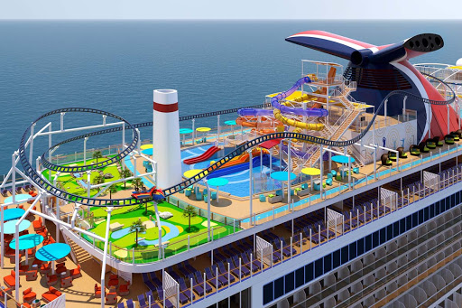 Take a wild ride or just splash around on the WaterWorld aboard Carnival's Mardi Gras (rendering).