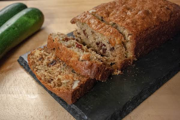 Pineapple Cranberry Zucchini Bread Cut Into Slices.